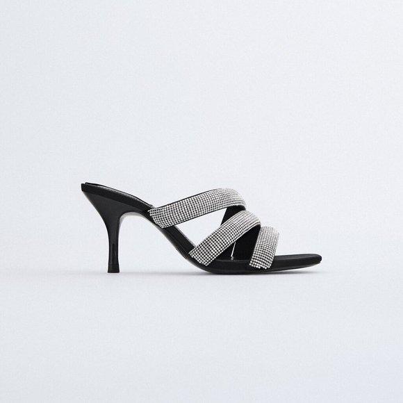 NWT Zara Sparkly Rhinestone Straps Heeled Sandals
